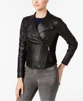 Andrew Marc Felix Leather Knit-Panel Moto Jacket