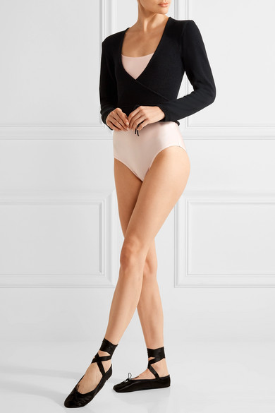 Ballet Beautiful Wrap-front Knitted Jersey Top