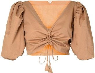 Johanna Ortiz Gathered Tie-Fastening Cropped Blouse