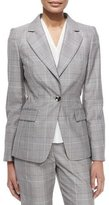 Escada Glen-Check Business Blazer, Black