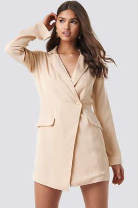 NA-KD Asymmetric Blazer Dress Beige