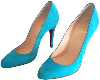 Christian Louboutin Turquoise Suede Heels