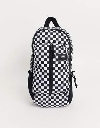 Vans Warp sling bag in black/white check