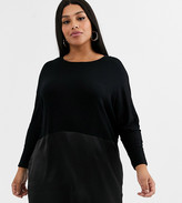Simply Be tunic with satin hem in black