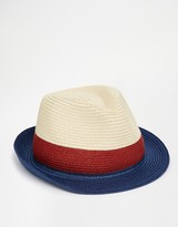 Asos Straw Trilby Hat With Color Block Weave