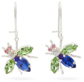 Art School - Crystal-embellished Fly-drop Earrings - Blue