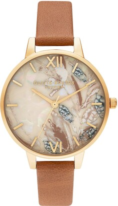 Olivia Burton Abstract Florals Leather Strap Watch, 34mm