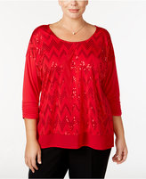 NY Collection Plus Size Sequined Chevron Top