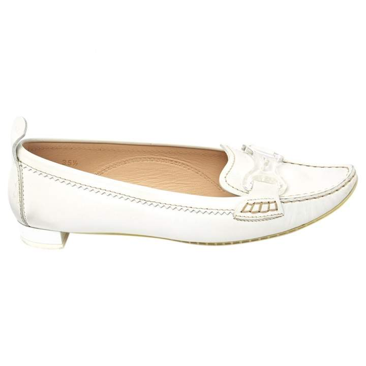 Tod's White Leather Flats