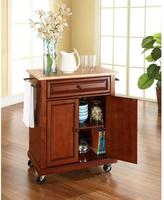 Crosley 28-1/4 in. W Natural Wood Top Mobile Kitchen Island Cart in Cherry