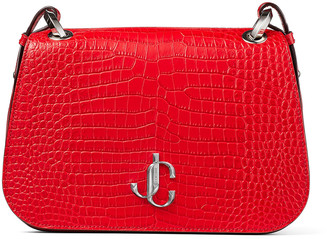 Jimmy Choo VARENNE CROSSBODY/M Royal Red Croc-Embossed Leather Cross Body Bag with JC Logo