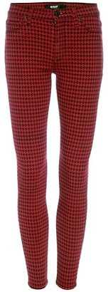 Hudson Barbara High-Rise Super Skinny Houndstooth Ankle Jeans