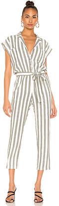1 STATE Button Front Regancy Stripe Jumpsuit
