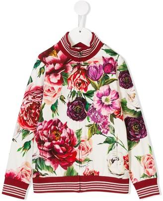 Dolce & Gabbana Kids Peony print bomber jacket