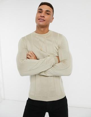 ASOS DESIGN knitted wide rib sweater in ecru