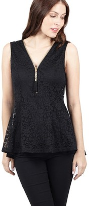 M&Co Izabel lace zip front peplum top