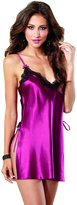 Dreamgirl Women's Silky Satin Charmeuse Toga Chemise with Contrast Lace Trim