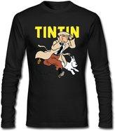 Tintin Shop562 Men Long Sleeve 100% Cotton Tintin Tshirt Soft Normal Fit Funny