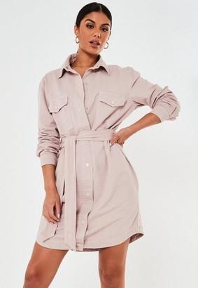 Missguided Blush Tie Waist Denim Shirt Dress