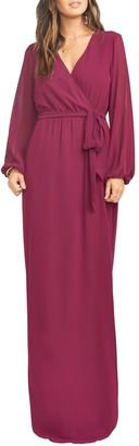 Show Me Your Mumu Lady Long Sleeve Faux Wrap Gown