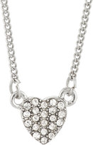 Lydell NYC Pave Crystal Heart Pendant Necklace, Silver