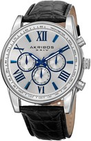 Akribos XXIV Men's Multifunction Silver Tone and Black Leather Strap Watch