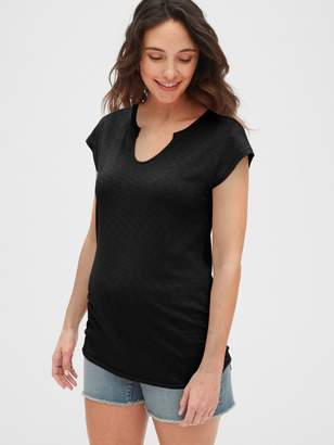 Gap Maternity Soft Slub Jersey Split-Neck T-Shirt