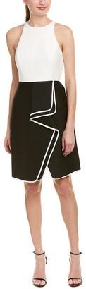 Halston Women's Sleeveless High Neck Structurd Dress with Flounce Skirt