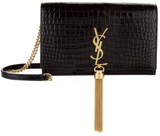 Saint Laurent Small Croc-Embossed Kate Tassel Shoulder Bag