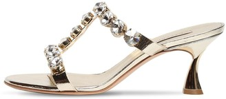 Casadei 60mm Embellished Metallic Leather Sandal
