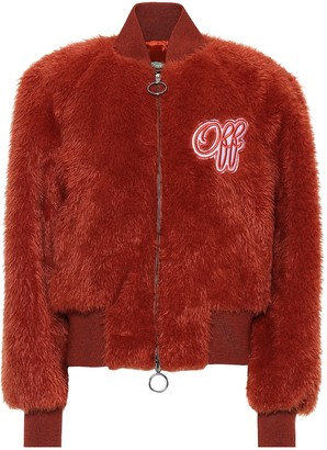 Off-White Embroidered faux fur bomber jacket