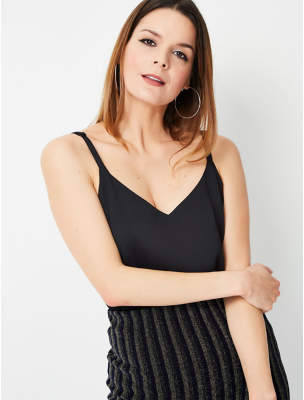 George Black Textured Double Layer Camisole Top