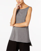 Eileen Fisher Boat-Neck High-Low Shell, Regular & Petite