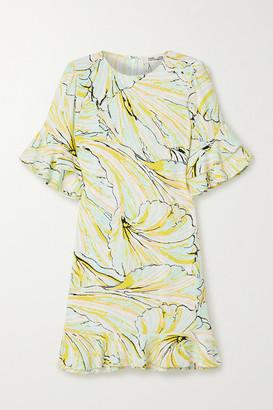 Diane von Furstenberg Tatum Ruffled Printed Crepe Mini Dress