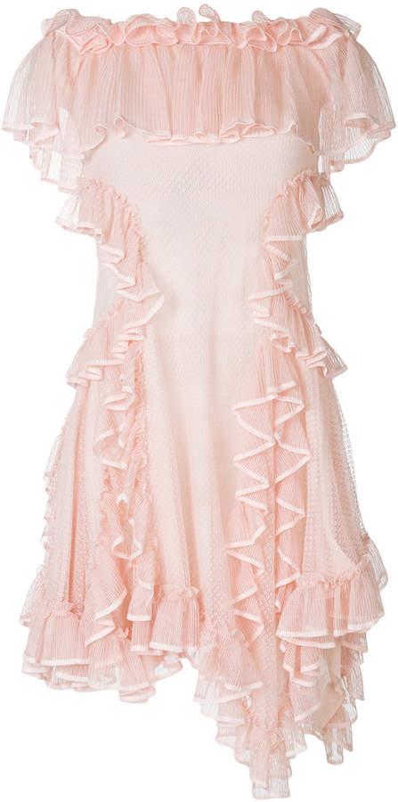 Alexander McQueen strapless draped ruffle fitted dress
