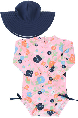 RuffleButts Bouncing Bloom Rashguard with Hat, Size 0 Months-3