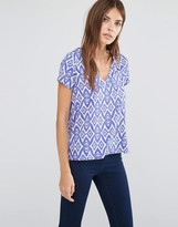 Vila Short Sleeve Ikat Print V Neck Shirt