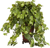 Asstd National Brand Nearly Natural Faux-Silk Vining Pothos with Decorative Vase