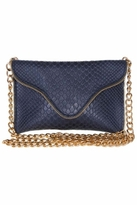 JJ Winters Leather Chain Strap Clutch with Zipper Edging in Navy Boa