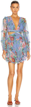 Zimmermann Bellitude Floating Cut Out Dress in Cornflower Floral | FWRD