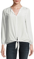 Joie Avrom Tie-Front Silk Blouse, White