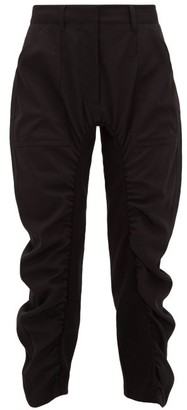 Stella McCartney Tina Cropped Ruched Twill Trousers - Womens - Black