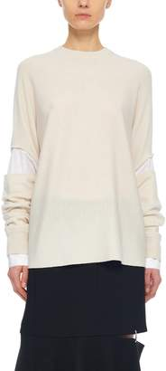 Tibi Mockrib Sweater Double Layer Slit Sleeve Pullover
