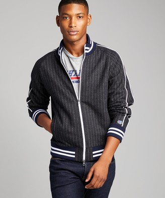 Todd Snyder + Champion Italian Wool Pinstripe Track Jacket in Charcoal
