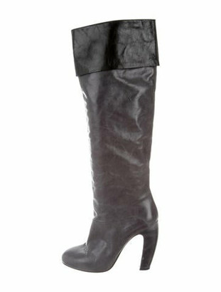 Miu Miu Leather Over-The-Knee Boots Grey