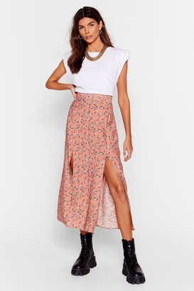 Nasty Gal Womens Plant Let It Happen Floral Midi Skirt - Apricot