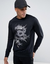Brave Soul Mens Crew Neck Sweat with Large Dragon EmBROIDERY