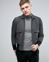 Asos Bomber Jacket With Collar In Tweed