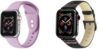 Posh Tech Black & Sweet Lilac Silicone & Leather Band for 42mm/44mm Apple Watch Series 1, 2, 3, 4, 5 - Set of 2