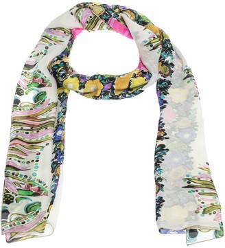 Roberto Cavalli Cream Floral Butterfly Print Silk Stole